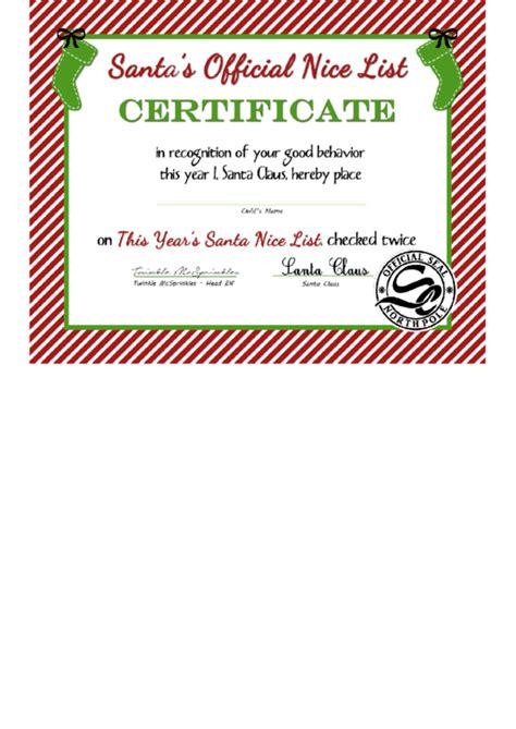 santas official nice list certificate template printable