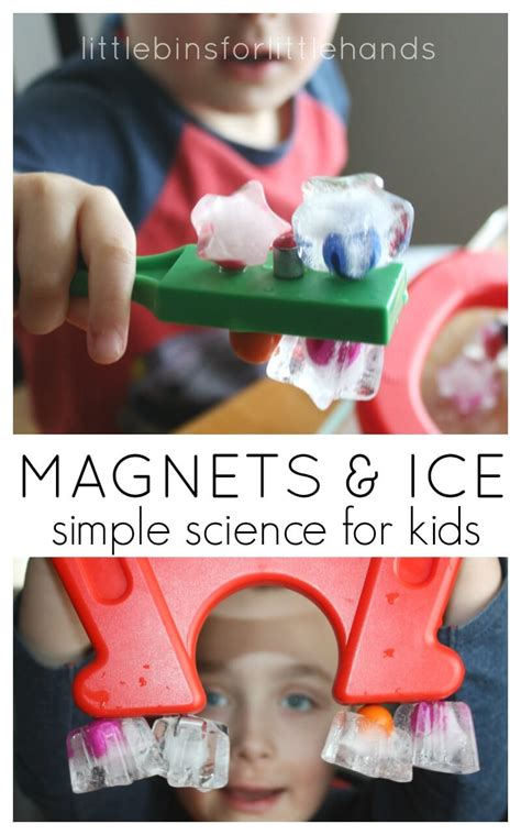 winter activities and winter science experiments for 120 | Ice Magnet Play Preschool Magnet Science and Ice Activity