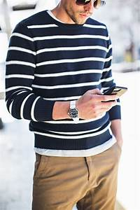 Great menu0026#39;s outfit for warm weather striped sweater khaki joggers silver watch aviator ...