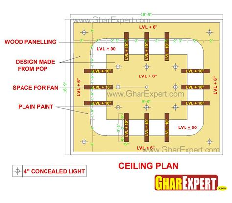 POP false ceiling design for 17 ft by 20 ft room with wooden planks   GharExpert