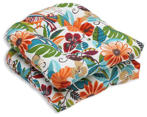 tropical outdoor pillows lensing jungle wicker seat cushion set of 2 tropical