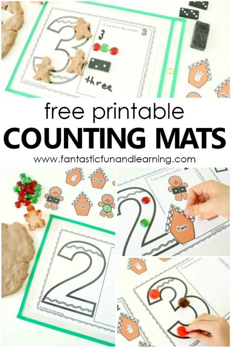gingerbread counting numbers printable math mats