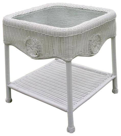 wicker glass top side table white outdoor side tables