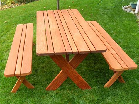 classic redwood picnic table set gold hill redwood