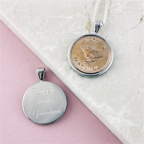 farthing 1937 80th birthday coin necklace by ellie ellie