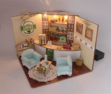 coffee shop doll house model building plan toy puzzle