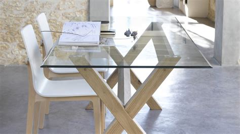 table verre et bois salle a manger table a manger verre et bois