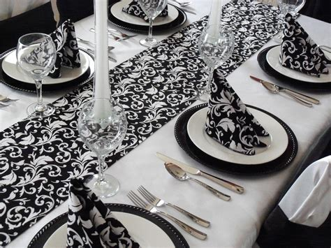 black and white table runners wedding black and white damask table runner free ship