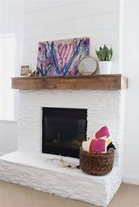 White, Painted, Stone, U0026, Shiplap, Fireplace, Makeover