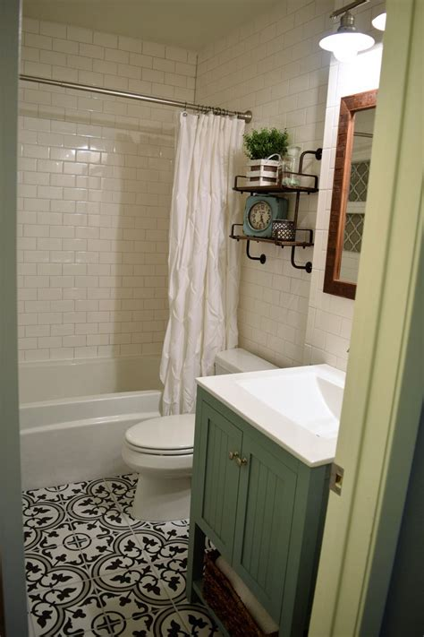 Low Cost Bathroom Remodel Ideas by Black And White Cement Look Tile At A Fraction Of The