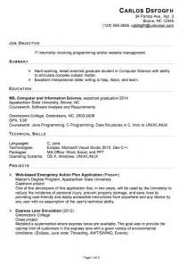 resume objective for an internship functional resume sle for an it internship susan ireland resumes