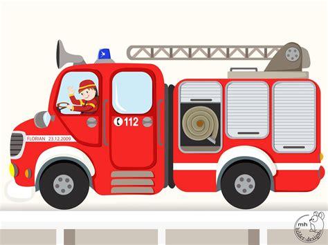 Wandtattoo Feuerwehrauto Mit Wunschname Wandtattoode