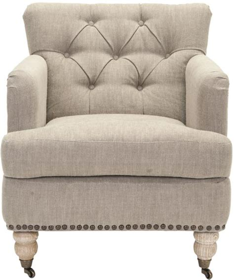 Safavieh Colin Chair by Safavieh Hud8212f Colin Tufted Club Chair Taupe Linen