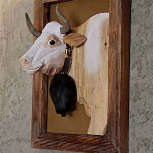 Tete De Vache Deco : cadre bois sculpt peint portrait de vache 50 40 20 d co montagne bois sculpt vache et bois ~ Melissatoandfro.com Idées de Décoration