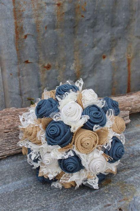 Navy Burlap And Lace Brides Bouquets Custom Bridal