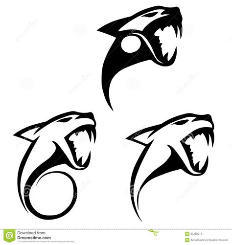 Stylized Silhouettes Of A Tiger Head Stock Vector - Image ...