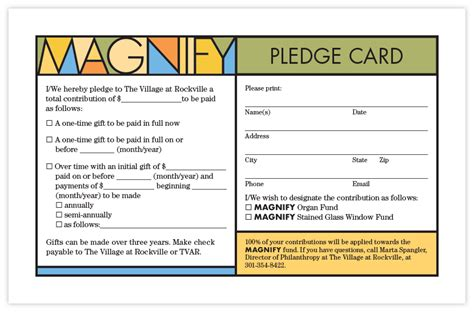 pledge card magnify caign exclamation communications inc