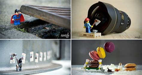 photographer arranges adorable miniature lego adventures