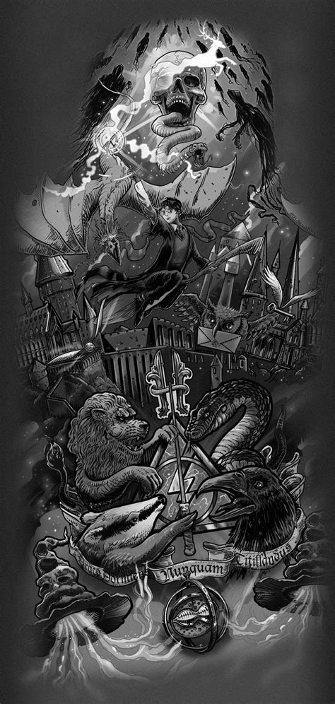 Harry Potter theme tattoo design on Behance | Ink and piercings | Harry tattoos, Harry potter