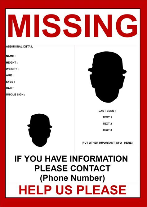 missing person poster template  images