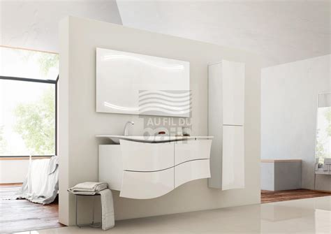 meuble salle de bain asymetrique meubles de salle de bains suspendus simple vasque avec plan en beton de synthese decotec meubles