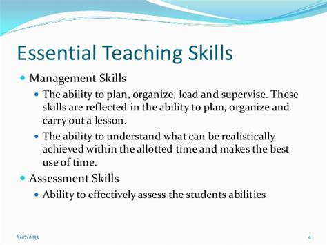 Exles Of Skills And Abilities by The Teaching Process Fundamentals Of