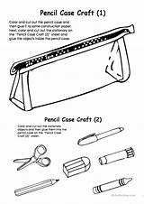 Pencil Case Cut Glue Craft Colouring Coloring Pencilcase Worksheet Printable Worksheets Fun Activities Template Esl Games Screen sketch template
