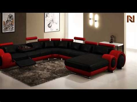 modern black  red leather sectional sofa vgev
