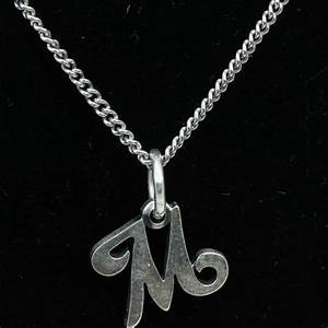 sterling silver 42g necklace with letter 39m39 pendant With sterling silver letter m pendant