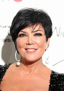 Kris Jenner Dangling Diamond Earrings Short Hairstyle 2013