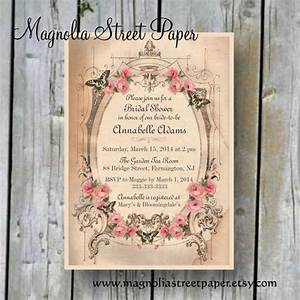 printable bridal shower invitation custom printable With shabby chic wedding shower invitations