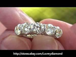 Vintage 2 52ct Large Diamond 5 Stone Anniversary Ring