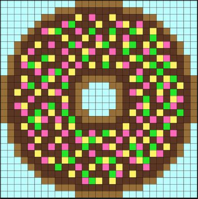 This time without my pixel art reference. Perler Bead Donuts - Pixel Art Shop