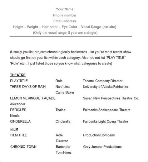 create  good acting resume template