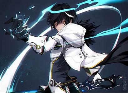 Anime Boy Raven Hair Elsword Magic Cape