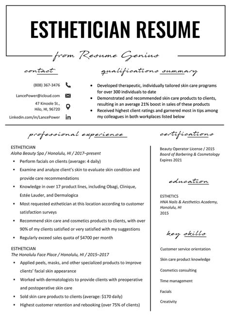 esthetician resume samples templatescoverletterscom
