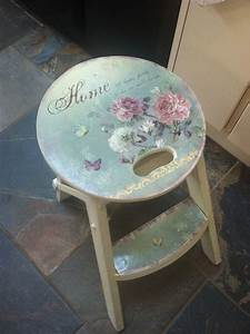 wooden stool french style shabby vintage chic kitchen seat