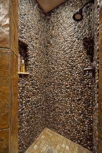 River Rock Bathroom Ideas Pebble Tile Can Be Used In Back Splashes Shower Pans Countertops Shower Walls And More