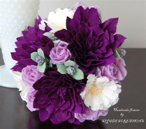 Purple Dahlia Bouquet Petite Handmade Paper Flowers By