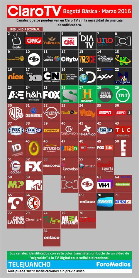 claro tv digital colombia gu 237 a de canales marzo de 2016 ahora con h2 e espn 2 hd