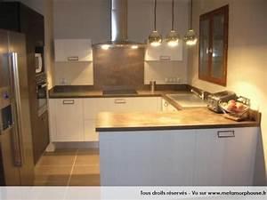photos decoration de cuisine americaine ouverte moderne With cuisine marron et blanc