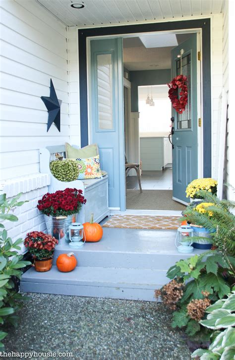 Key Ingredients For A Simple Fall Front Porch  The Happy. Circular Living Room Design. Martha Stewart Craft Room Ideas. Basement Game Room Designs. Design My Baby Room. Design You Own Room. Temporary Room Divider. Pretty Powder Rooms. Small Kids Room Design