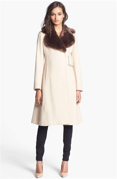 Kate Spade Briella Faux Fur Collar Coat in Beige (Flat Iron Beige) | Lyst