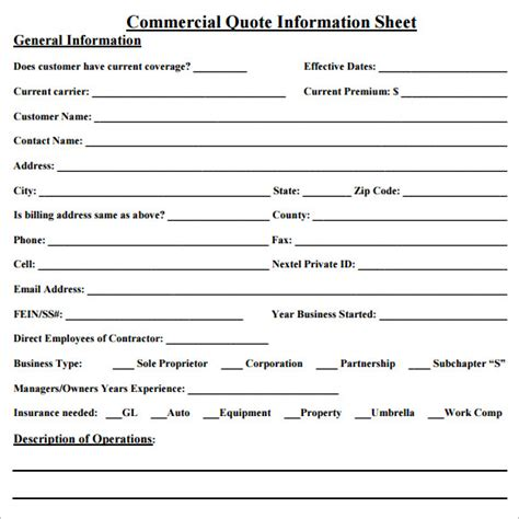 business insurance quotes sle quote sheet 10 exles format