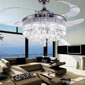 Led ceiling fans light ac v invisible blades