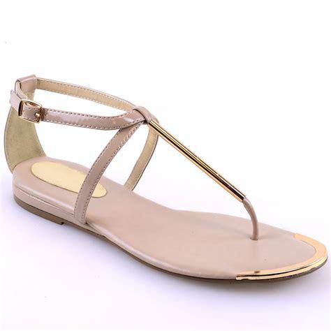 ladies womens  bar summer sandals gold trim buckle flat