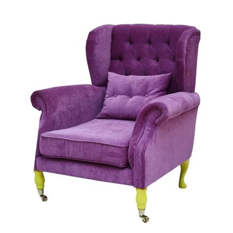 wing chair in pink velvet by rice dk