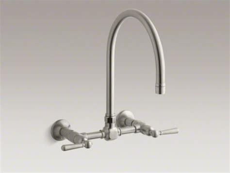 kohler high rise bridge faucet kohler hirise two wall mount bridge kitchen sink