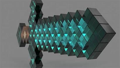 Sword Minecraft Diamond Render Environment 1920 Rendering
