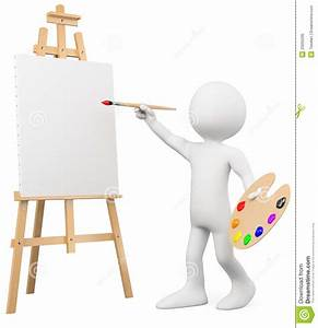 3D Artist Painting On A Canvas On An Easel Stock Photo ...